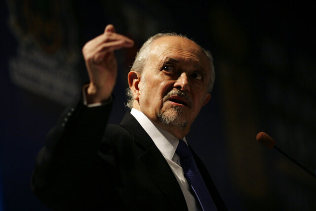 FILE - In this Feb 25. 2010 file photo, Mexico's Nobel Chemistry Prize laureate Mario Molina gestures during a conference on global warming in Guadalajara, Mexico. Molina has died on Wednesday, October 7, 2020, his family informed. (AP Photo/Carlos Jasso, File)
