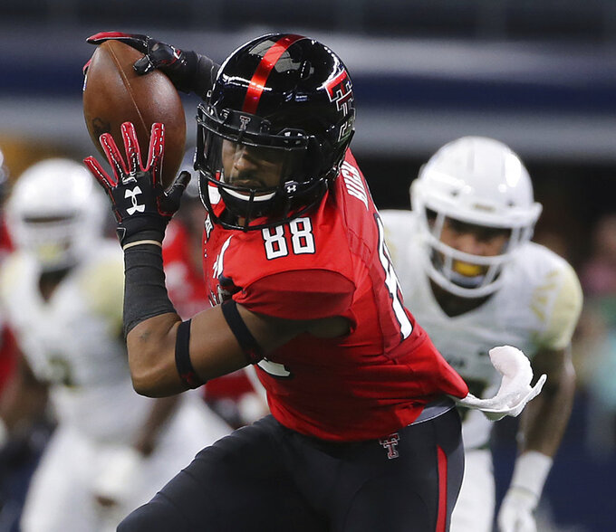 Texas Tech wide receiver Ja'Deion High (88) catches a pass for a touchdown against Baylor in the first half in the first half of an NCAA college football game Saturday, Nov. 24, 201 in Arlington, Texas. (Jerry Larson/Waco Tribune-Herald via AP)