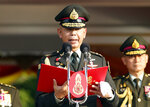 Thai army chief Gen. Apirat Kongsompong delivers a speech during the Royal Thai Armed Forces Day ceremony at a military base in Bangkok, Thailand, Friday, Jan. 18, 2019. (AP Photo/Sakchai Lalit)