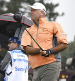 Stewart Cink watches his shot from the first tee during the first round of the Tournament of Champions golf event Thursday, Jan. 7, 2021, at Kapalua Plantation Course in Kapalua, Hawaii. (Matthew Thayer/The Maui News via AP)