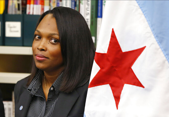 FILE - In this July 16, 2015, file photo, Janice Jackson, chief executive officer for Chicago Public Schools, appears at a news conference in Chicago. Federal education officials called Chicago Public Schools' handling of sexual abuse complaints