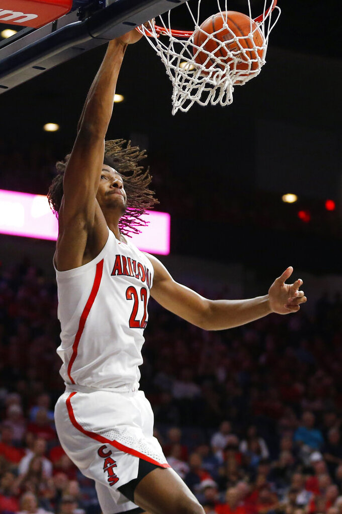 Arizona forward Zeke Nnaji dunks against San Jose State during the second half of an NCAA college basketball game Thursday, Nov. 14, 2019, in Tucson, Ariz. Arizona won 87-39. (AP Photo/Rick Scuteri)