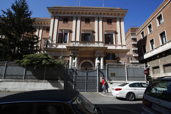 The Russian Embassy in Rome, Wednesday, March 31, 2021. Italy has ordered two Russian Embassy officials expelled and arrested an Italian Navy captain on spying charges after police caught the Italian allegedly giving classified documents to one of the Russians in exchange for money. (AP Photo/Alessandra Tarantino)