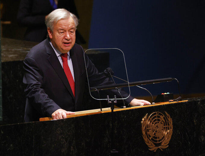 United Nations Secretary-General Antonio Guterres speaks at a High-level meeting on the twentieth anniversary of the adoption of the Durban Declaration during the 76th Session of the U.N. General Assembly at United Nations headquarters in New York, on Wednesday, Sept. 22, 2021. (John Angelillo/Pool Photo via AP)
