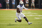Tulsa running back Shamari Brooks (3) carries in the first half of an NCAA college football game against Oklahoma State, Saturday, Sept. 11, 2021, in Stillwater, Okla. (AP Photo/Sue Ogrocki)