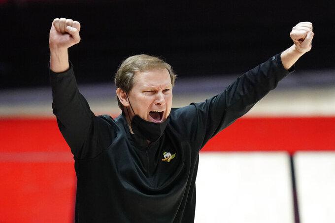 Oregon coach Dana Altman gestures during the second half of the team's NCAA college basketball game against Utah on Saturday, Jan. 9, 2021, in Salt Lake City. (AP Photo/Rick Bowmer)