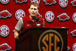 Arkansas head coach Eric Musselman speaks during the Southeastern Conference NCAA college basketball media day, Wednesday, Oct. 16, 2019, in Birmingham, Ala. (AP Photo/Butch Dill)