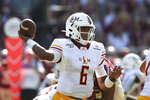 Louisiana-Monroe's Caleb Evans attempts a pass against Florida State in the first quarter of an NCAA college football game Saturday, Sept. 7, 2019, in Tallahassee Fla. (AP Photo/Steve Cannon)v