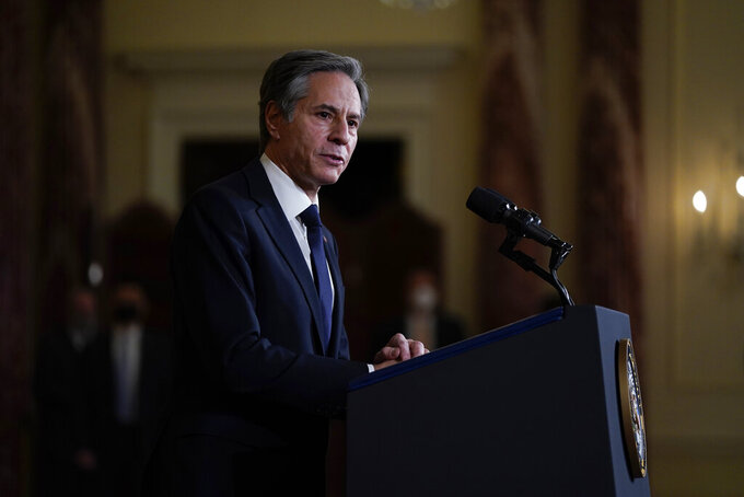 Secretary of State Antony Blinken speaks at the State Department, Thursday, Feb. 4, 2021, in Washington. (AP Photo/Evan Vucci)