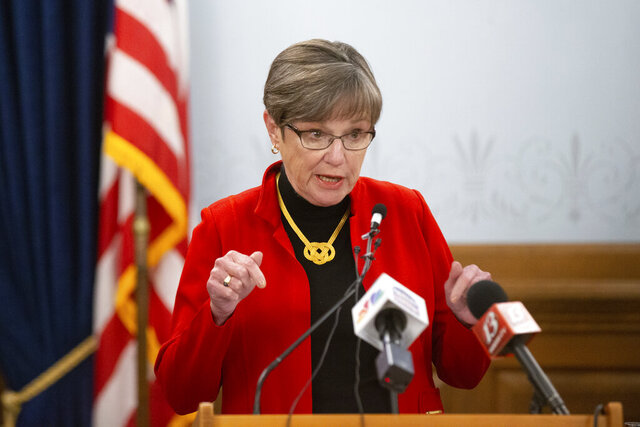 Kansas Gov. Laura Kelly gives a press conference Tuesday, Oct. 13, 2020 where she made an announcement about Kasnas' Unified Testing Strategy and give updates in regards to COVID-19. (Evert Nelson/The Capital-Journal via AP)