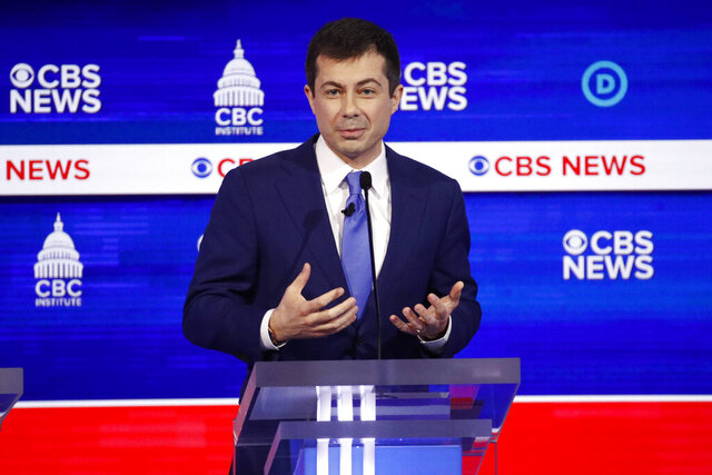 Democratic presidential candidate former South Bend Mayor Pete Buttigieg participates in a Democratic presidential primary debate at the Gaillard Center, Tuesday, Feb. 25, 2020, in Charleston, S.C., co-hosted by CBS News and the Congressional Black Caucus Institute. (AP Photo/Patrick Semansky)