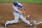 New York Mets' Pete Alonso hits a two-run single during the seventh inning of the team's baseball game against the Kansas City Royals on Saturday, Aug. 17, 2019, in Kansas City, Mo. (AP Photo/Charlie Riedel)