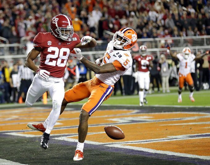 Alabama's Josh Jobe is called for a late hit after Clemson's Tee Higgins' touchdown catch during the second half of the NCAA college football playoff championship game, Monday, Jan. 7, 2019, in Santa Clara, Calif. (AP Photo/David J. Phillip)
