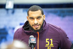 Mississippi State defensive lineman Montez Sweat talks to the media at the NFL Scouting Combine on Saturday, March 2 2019 in Indianapolis. (Detroit Lions via AP)