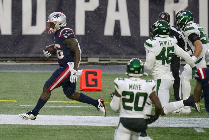 New England Patriots running back Sony Michel scores a touchdown in the second half of an NFL football game against the New York Jets, Sunday, Jan. 3, 2021, in Foxborough, Mass. (AP Photo/Elise Amendola)
