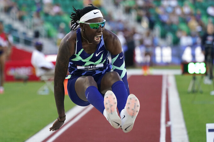 Brittney Reese competes during the finals of the women's long jump at the U.S. Olympic Track and Field Trials Saturday, June 26, 2021, in Eugene, Ore. (AP Photo/Charlie Riedel)