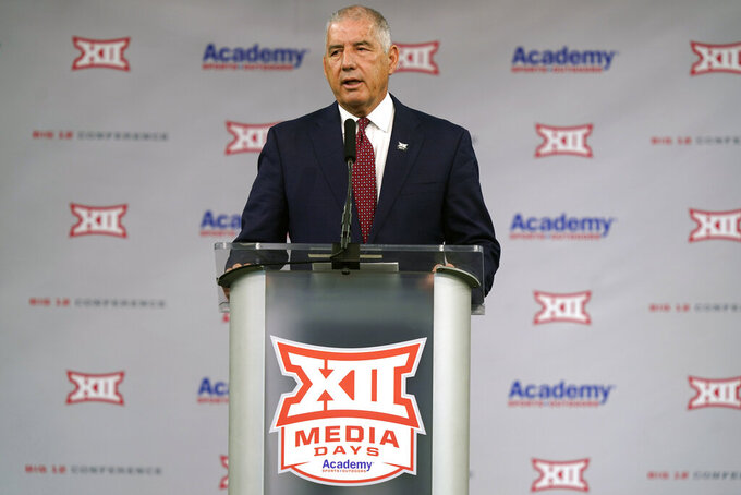 CORRECTS DATELINE TO ARLINGTON, TEXAS, NOT DALLAS AS ORIGINALLY SENT - Big 12 commissioner Bob Bowlsby speaks during NCAA college football Big 12 media days Wednesday, July 14, 2021, in Arlington, Texas. (AP Photo/LM Otero)
