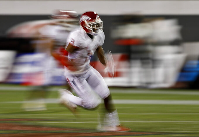 Fresno State wide receiver KeeSean Johnson runs after making a reception against the UNLV during the second half of an NCAA college football game Saturday, Nov. 3, 2018, in Las Vegas. (AP Photo/John Locher)