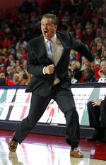 Kentucky head coach John Calipari reacts on the sideline during the second half of an NCAA college basketball game against the Georgia Tuesday, Jan. 15, 2019, in Athens, Ga. Kentucky won 69-49. (AP Photo/John Bazemore)