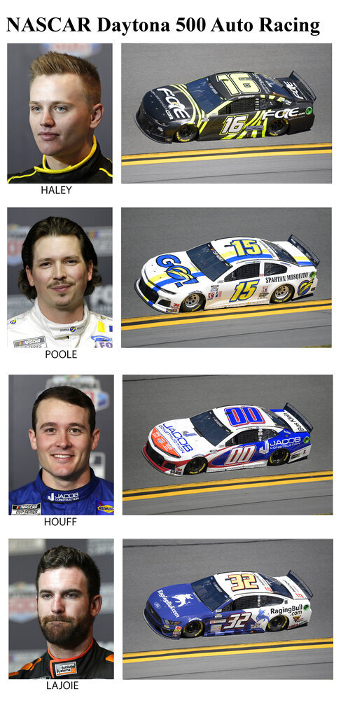 These photos taken in February 2020 show drivers in the starting lineup for Sunday's NASCAR Daytona 500 auto race in Daytona Beach, Fla. From top are Justin Haley, 33rd position; Brennan Poole, 34th position; Quin Houff, 35th position and Corey LaJoie, 36th position. (AP Photo)