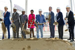 Left to right: Lucas Museum of Narrative Art Founding President, Don Bacigalupi, Los Angeles City Councilmember Curren Price, County Supervisor Mark Ridley-Thomas, Co-Founders, Mellody Hobson, and filmmaker George Lucas, Los Angeles Mayor Eric Garcetti, Angelo Garcia, and architect Ma Yansong break ground the Lucas Museum of Narrative Art in Los Angeles Wednesday, March 14, 2018. The institution, scheduled to open in 2021, is envisioned as not just a repository for