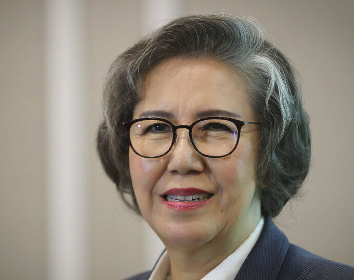 U.N. Special Rapporteur for Human Rights in Myanmar, Lee Yanghee, smiles during a press conference in Kuala Lumpur, Thursday, July 18, 2019. U.N. envoy Lee said the U.S. didn't