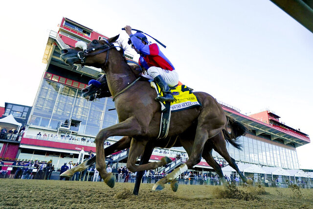 Swiss Skydiver (4), with Robby Albarado aboard, wins the 145th Preakness Stakes horse race at Pimlico Race Course, Saturday, Oct. 3, 2020, in Baltimore. (AP Photo/Steve Helber)