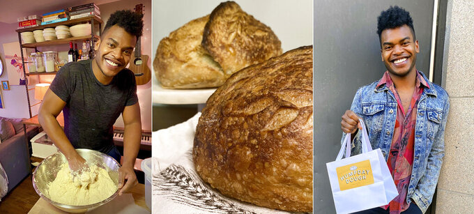 "This combination of photos shows Broadway performer Max Kumangai making sourdough bread from his apartment in New York. The triple threat from the musical ""Jagged Little Pill"" has leaned into a fourth skill as the pandemic marches on: baking and selling his own sourdough. (Michael Lowney/Humpday Dough via AP)"