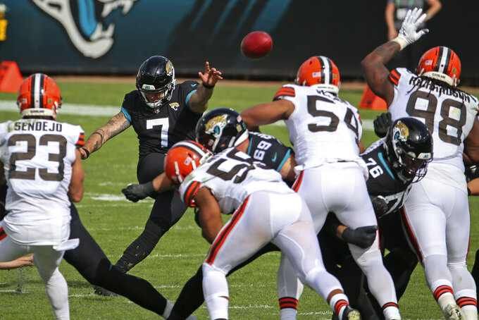 Jacksonville Jaguars kicker Aldrick Rosas (7) kicks a 54-yard field goal against the Cleveland Browns during the first half of an NFL football game, Sunday, Nov. 29, 2020, in Jacksonville, Fla. (AP Photo/Stephen B. Morton)