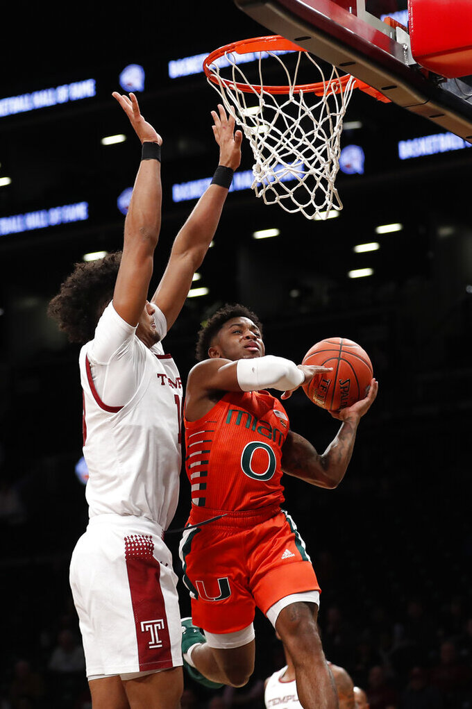 Miami's Chris Lykes (0) attempts a layup against Temple's Jake Forrester during the first half of an NCAA college basketball game at Barclays Center, Tuesday, Dec. 17, 2019, in New York. (AP Photo/Michael Owens)