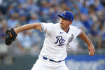 Kansas City Royals pitcher Kris Bubic throws to a Detroit Tigers batter during the first inning of a baseball game at Kauffman Stadium in Kansas City, Mo., Friday, July 23, 2021. (AP Photo/Colin E. Braley)