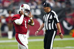 Arizona Cardinals quarterback Kyler Murray (1) takes off his helmet after throwing an interception against the Minnesota Vikings during the second half of an NFL football game, Sunday, Sept. 19, 2021, in Glendale, Ariz. (AP Photo/Ross D. Franklin)