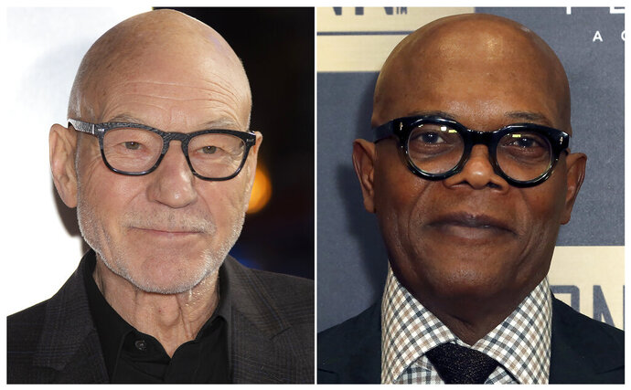FILE - This combination of file photos shows actors Patrick Stewart, left, and Samuel L. Jackson.  Stewart and Jackson will be among the readers for a new audiobook about famous American legal cases.