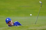 Team Europe's Matt Fitzpatrick hits to the 11th hole during a practice day at the Ryder Cup at the Whistling Straits Golf Course Tuesday, Sept. 21, 2021, in Sheboygan, Wis. (AP Photo/Jeff Roberson)