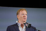 NFL Commissioner Roger Goodell speaks during a news conference, Monday, Feb. 3, 2020, in Miami, the day after the Kansas City Chiefs defeated the San Francisco 49ers in Super Bowl 54. (AP Photo/Brynn Anderson)