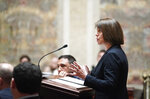 Tamara Packard, an attorney for a coalition of liberal-leaning groups, speaks during the oral arguments before the Wisconsin Supreme Court  in 2019AP559, League of Women Voters v. Tony Evers at the Wisconsin State Capitol in Madison, Wisconsin Wednesday, May 15, 2019. (Steve Apps/Wisconsin State Journal via AP)