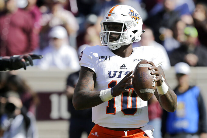 UTSA quarterback Lowell Narcisse (10) looks to pass against Texas A&M during the first half of an NCAA college football game, Saturday, Nov. 2, 2019, in College Station, Texas. (AP Photo/Sam Craft)