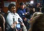 Seattle Seahawks quarterback Russell Wilson speaks to the media as players clean out their lockers at Seahawks headquarters in Renton, Wash. Monday, Jan. 13, 2020. (Ellen M. Banner/The Seattle Times via AP)
