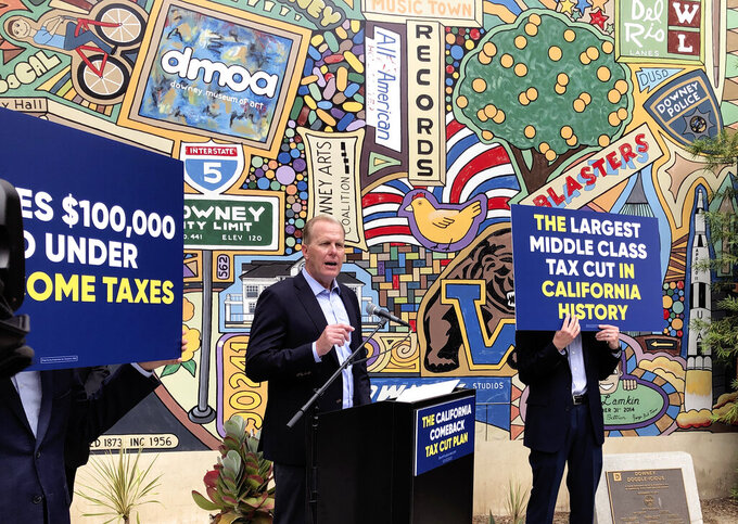 Kevin Faulconer, a Republican candidate for California governor, speaks during a news conference, Wednesday, May 12, 2021, in Downey, Calif, where he announce his $15 billion tax-cut proposal. Faulconer wants to eliminate California's state income tax for individuals making up to $50,000 and households up to $100,000 as part of a proposal to make the state more affordable for families and the middle class. (AP Photo/Michael R. Blood)