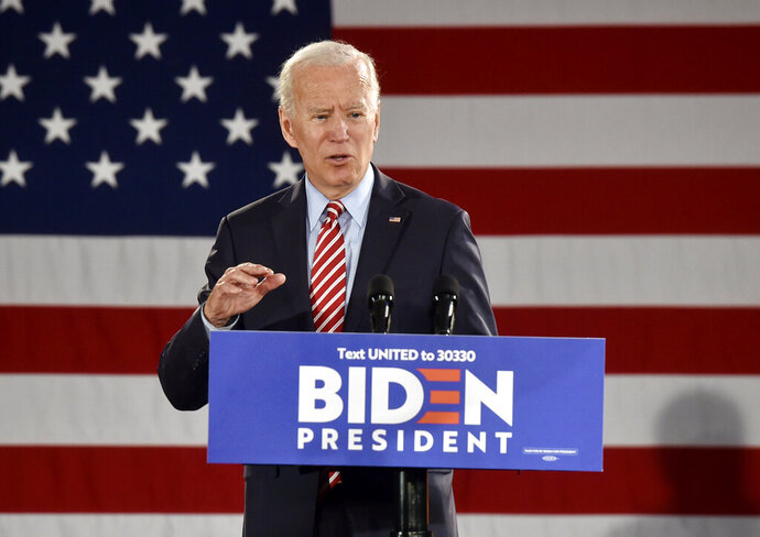 Democratic presidential candidate former Vice President Joe Biden speaks during a campaign event, Wednesday, Oct. 23, 2019, in Scranton, Pa. (Aimee Dilger/The Times Leader via AP)