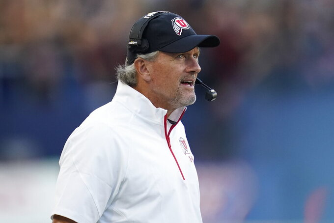 Utah head coach Kyle Whittingham stands on the sideline during the second half of an NCAA college football game against San Diego State Saturday, Sept. 18, 2021, in Carson, Calif. (AP Photo/Ashley Landis)