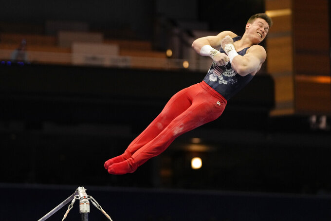 FILE - Brody Malone competes on the horizontal bar during the men's U.S. Olympic Gymnastics Trials in St. Louis, in this Thursday, June 24, 2021, file photo. The 21-year-old Malone will make his Olympic debut in Tokyo later this month. (AP Photo/Jeff Roberson, File)