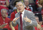 Rutgers coach Steve Pikiell reacts during the first half of an NCAA college basketball game against Michigan Tuesday, Feb. 5, 2019, in Piscataway, N.J. Michigan defeated Rutgers 77-65. (AP Photo/Bill Kostroun)