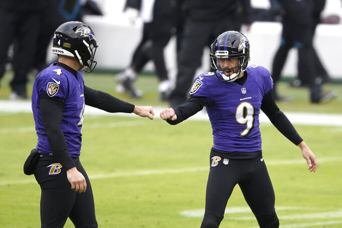 Baltimore Ravens place kicker Justin Tucker (9) reacts with Sam Koch (4) after kicking a field goal against the Jacksonville Jaguars during the first half of an NFL football game, Sunday, Dec. 20, 2020, in Baltimore. (AP Photo/Nick Wass)
