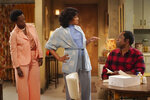 "This image released by ABC shows, from left, Viola Davis, Tiffany Haddish and Andre Braugher in a scene from ""Live in Front of a Studio Audience:  'All in the Family' and 'Good Times'"" which will be rebroadcast on Tuesday on ABC, (Eric McCandless/ABC via AP)"