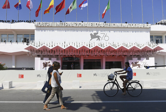 FILE -  In this this Tuesday, Aug. 27, 2019 file photo, a view of the Sala Grande cinema at the 76th edition of the Venice Film Festival in Venice, Italy. The lineup for the Venice Film Festival will be announced on Tuesday, July 28, 2020, and will be the first major film event since the coronavirus pandemic lockdown.  (Photo by Arthur Mola/Invision/AP, File)
