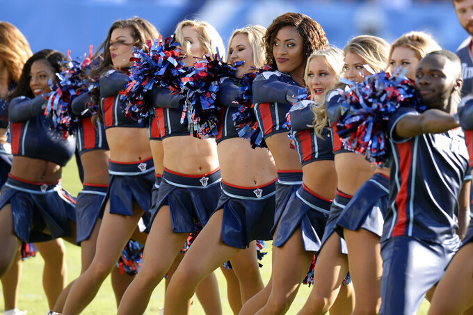 Tennessee Titans cheerleaders perform in the first half of an NFL football game between the Titans and the Los Angeles Chargers Sunday, Oct. 20, 2019, in Nashville, Tenn. (AP Photo/Mark Zaleski)