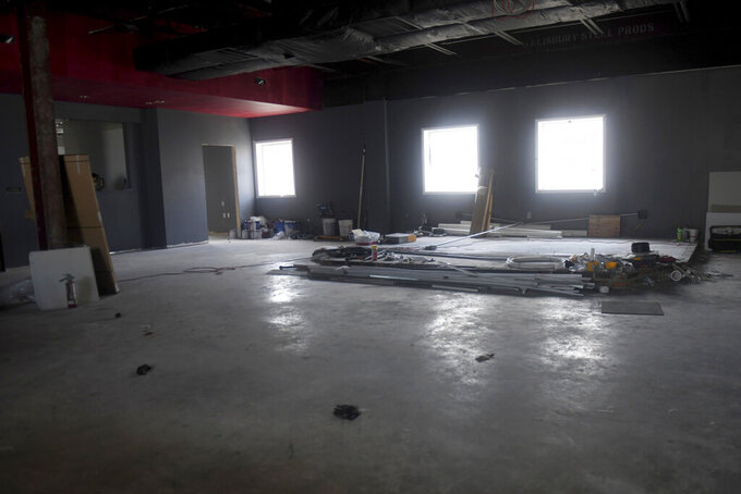 """Construction continues on June 14, 2021, in the City Center building, soon to be home to """"revival,"""" the city's newest performance art venue in downtown Salisbury, Md. (Kelly Powers/The Daily Times via AP)"""