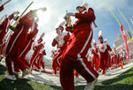 Indiana's Marching Hundred band march off the field before IU's NCAA college football game against Ball State Saturday, Sept. 15, 2018 in Bloomington, Ind. (Jeremy Hogan/The Herald-Times via AP)