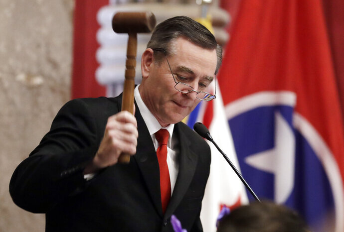 FILE - Ink this Jan. 8, 2019 file photo, House Speaker Glen Casada, R-Franklin, bangs the gavel on the opening day of the 111th General Assembly Nashville, Tenn. Tennessee lawmakers are set to tussle for months over the state's criminal justice and education systems, sports betting and medical marijuana, and hot-button topics ranging from guns to abortion.  The Republican-supermajority General Assembly is finally digging into its workload after new Republican Gov. Bill Lee has taken office and begun getting acclimated.   (AP Photo/Mark Humphrey, File)